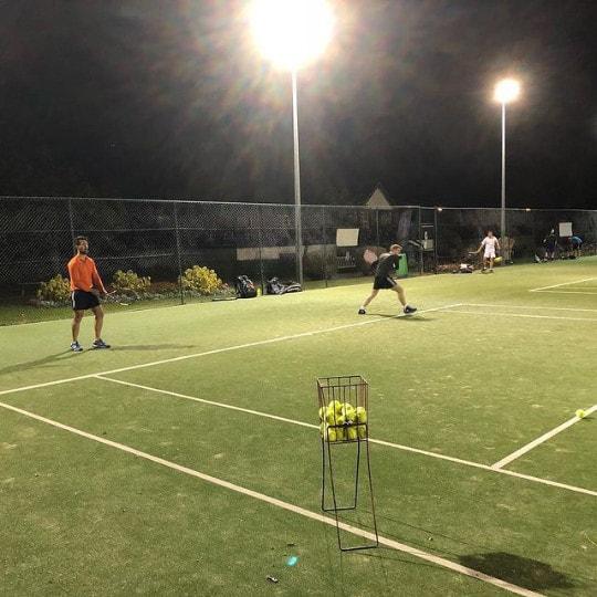 Evening group tennis coaching at Wimbledon park